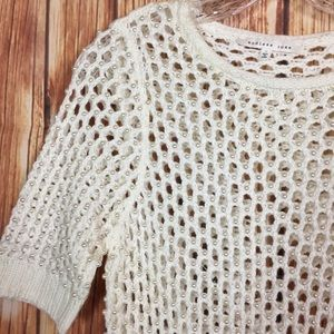Endless Rose SM Cream Pearl Embellished Knit Top